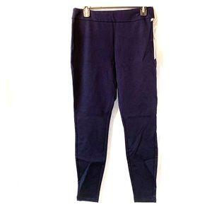 High rise skinny pull on work pants